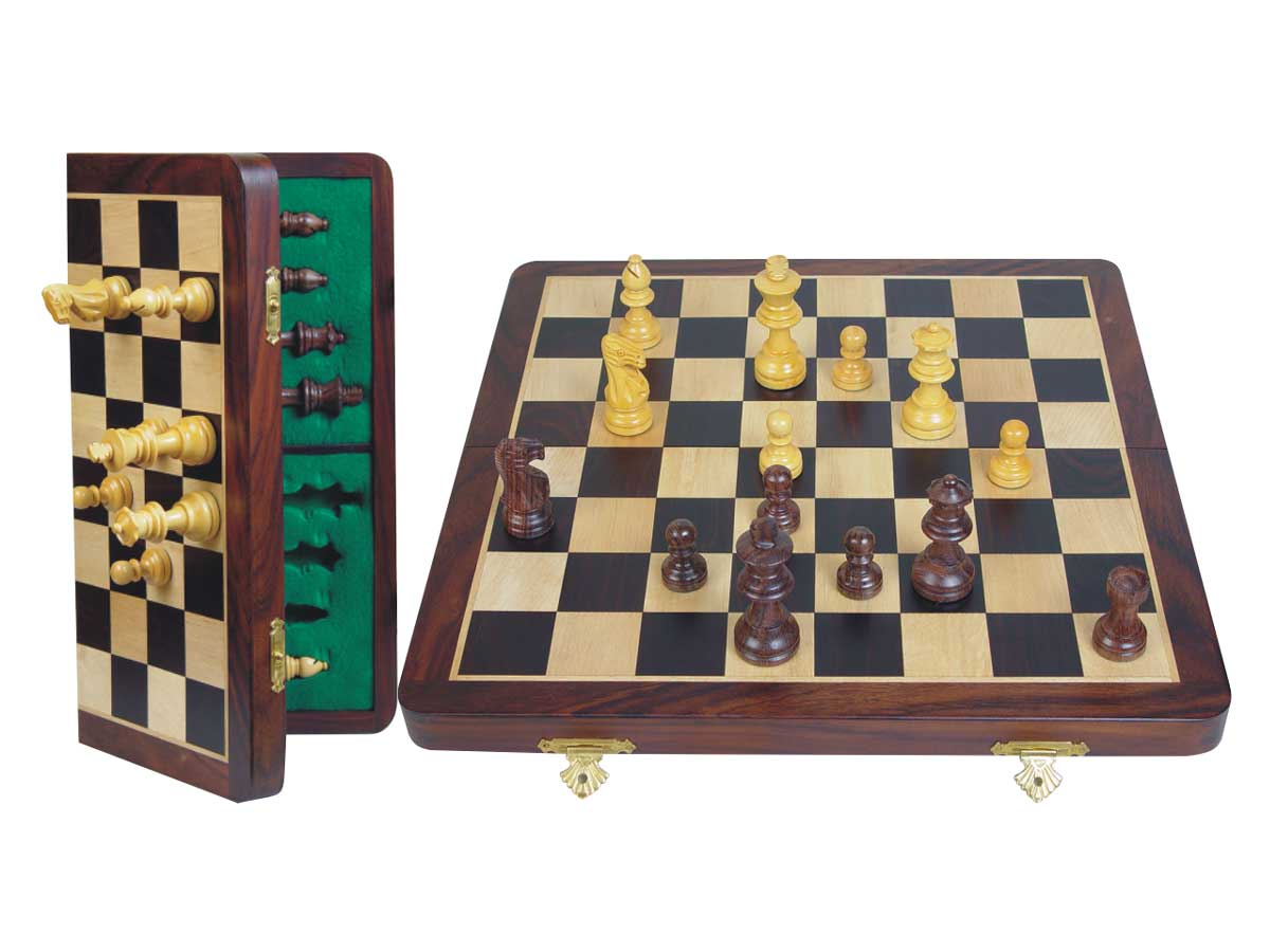 "Unique Travel Chess Set Magnetic Folding 14"" Rosewood/Maple"