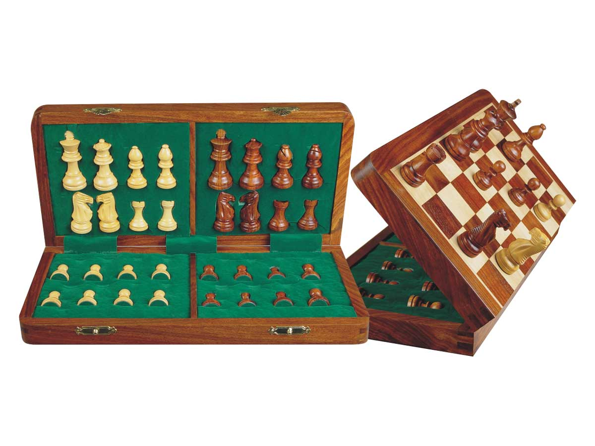 "Unique Travel Chess Set Magnetic Folding 14"" Golden Rosewood/Maple"