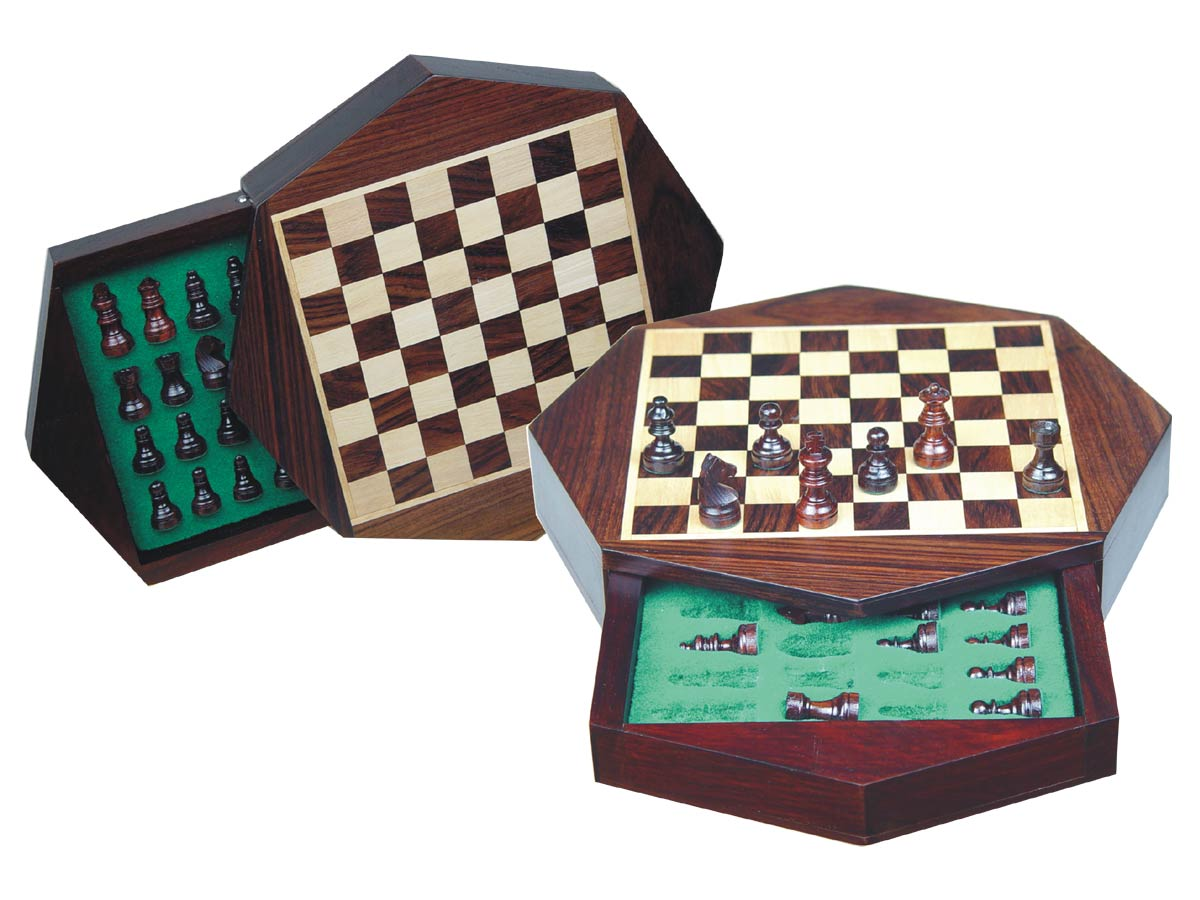 "Travel Magnetic Chess Set 9"" Octagonal Shape with Drawer Rosewood/Maple"