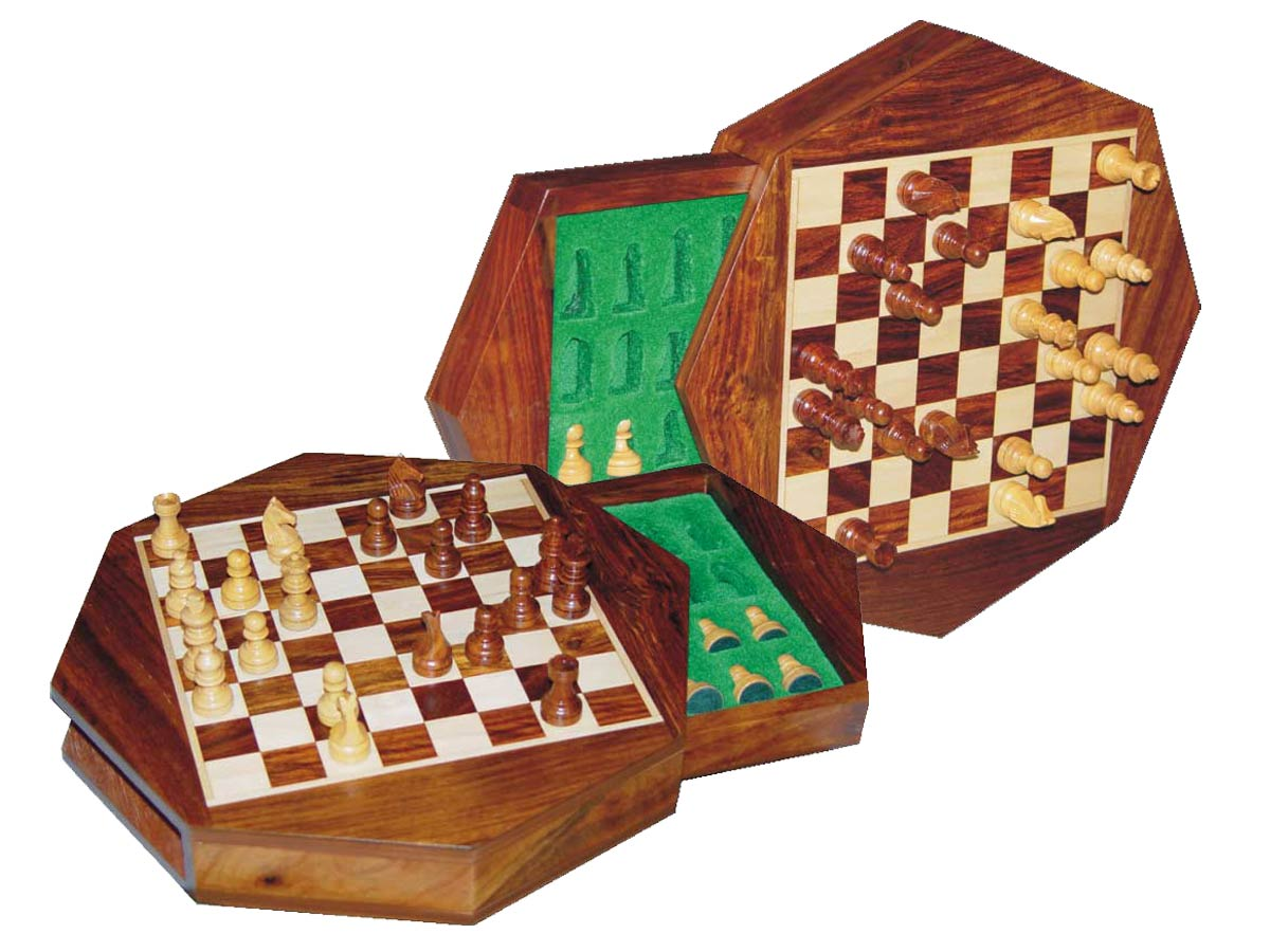 "Travel Magnetic Chess Set 9"" Octagonal Shape with Drawer Golden Rosewood/Maple"