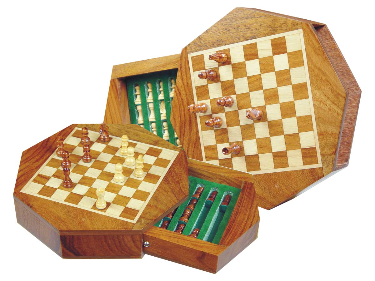 "Wood Magnetic Chess Set 6"" Octagonal Shape with Drawer Golden Rosewood/Maple"