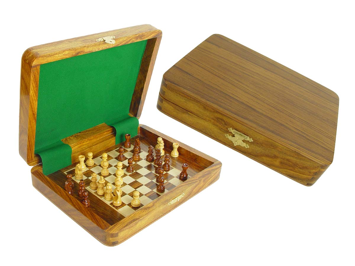 "Travel Magnetic Chess Set Board Inside 10""x8"" Golden Rosewood/Maple"