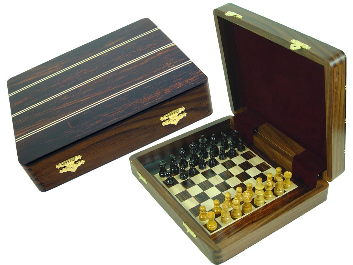 "Travel Chess Set Magnetic Board Inside 12""x10"" with Ebony Inlaid Wood Top Rosewood/Maple"