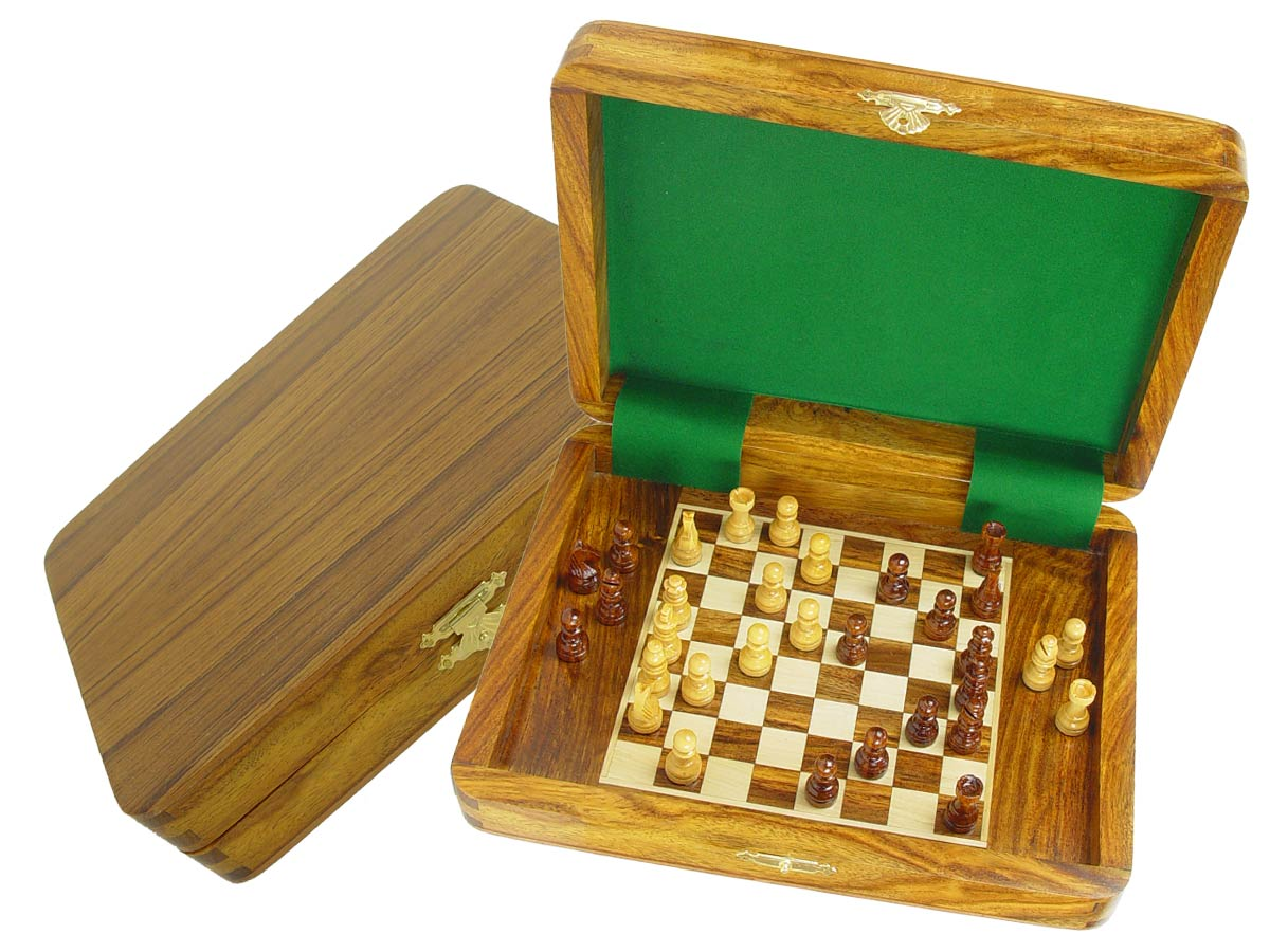 "Travel Magnetic Chess Set Board Inside 9""x7"" Golden Rosewood/Maple"