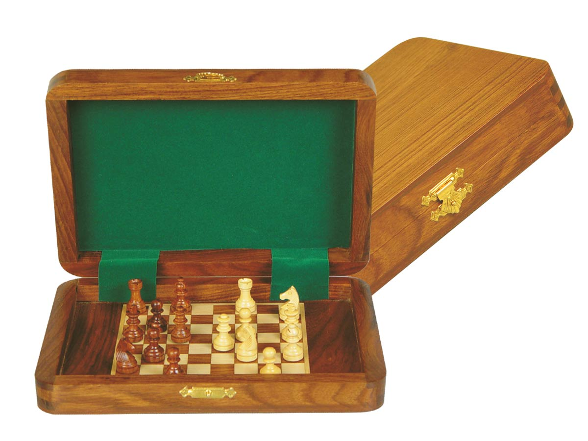 "Travel Magnetic Chess Set Board Inside 7""x5"" Golden Rosewood/Maple"
