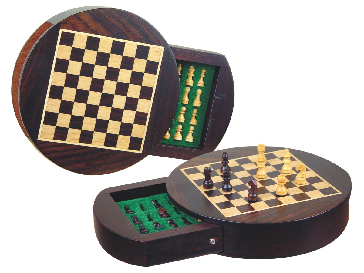 "Wood Magnetic Chess Set 6"" Round Shape with Drawer Rosewood/Maple"