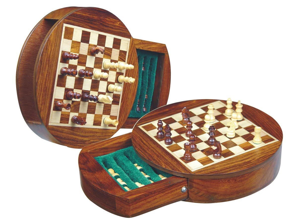 "Wood Magnetic Chess Set 6"" Round Shape with Drawer Golden Rosewood/Maple"