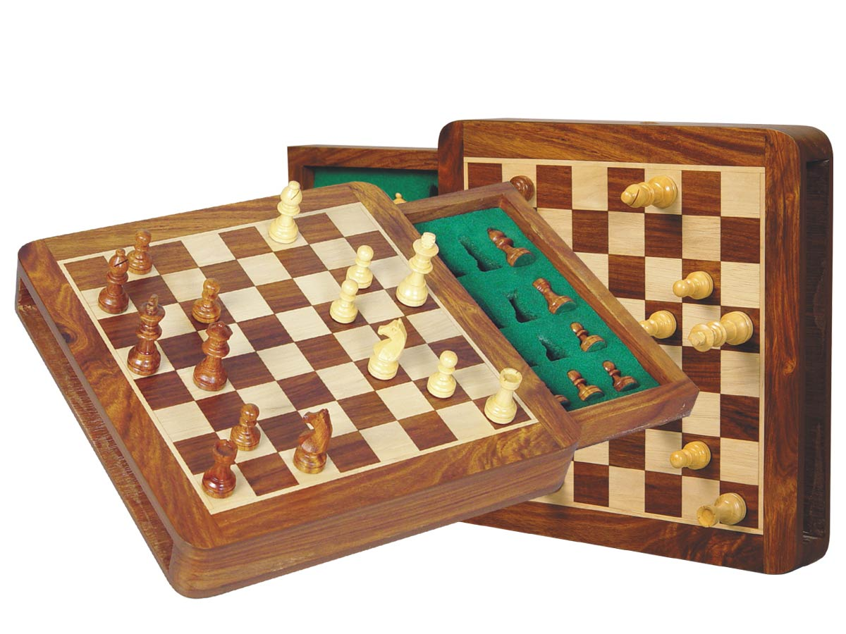 "Travel Chess Set Magnetic Push Drawer 12"" With Inserts Golden Rosewood/Maple"