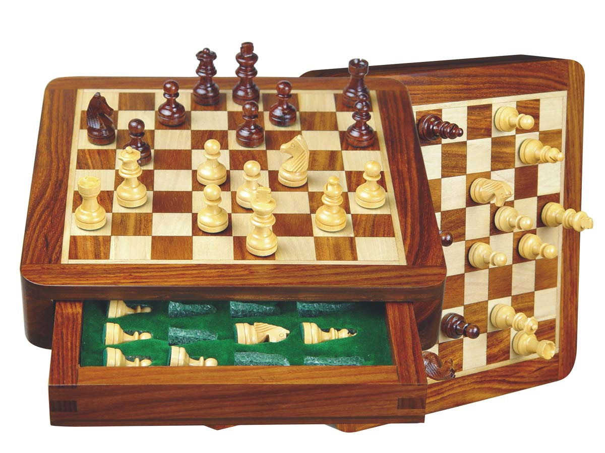 "Travel Chess Set Magnetic 7-1/2"" with Single Push Drawer Golden Rosewood/Maple"