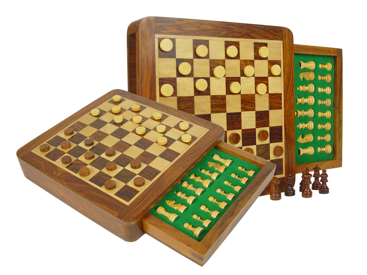 "Travel Magnetic Chess Set & Checkers in 7-1/2""x7-1/2"" Flat Drawer Golden Rosewood/Maple"