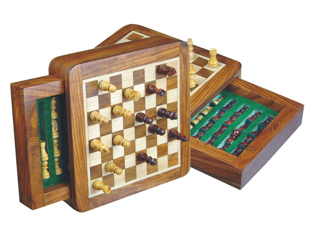 "Pocket Magnetic Chess Set 5"" with Push Drawer Golden Rosewood/Maple"