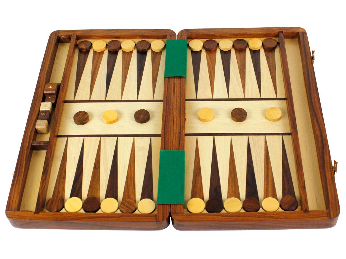 Fully open inlaid backgammon board