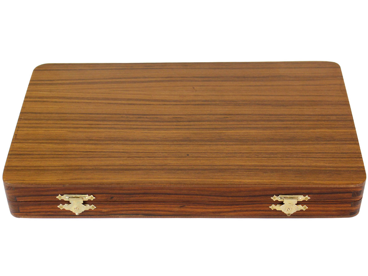 Closed backgammon box with teak top
