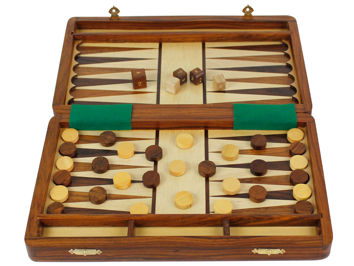 Backgammon board with white maple floor inlaid with golden rosewood and rosewood