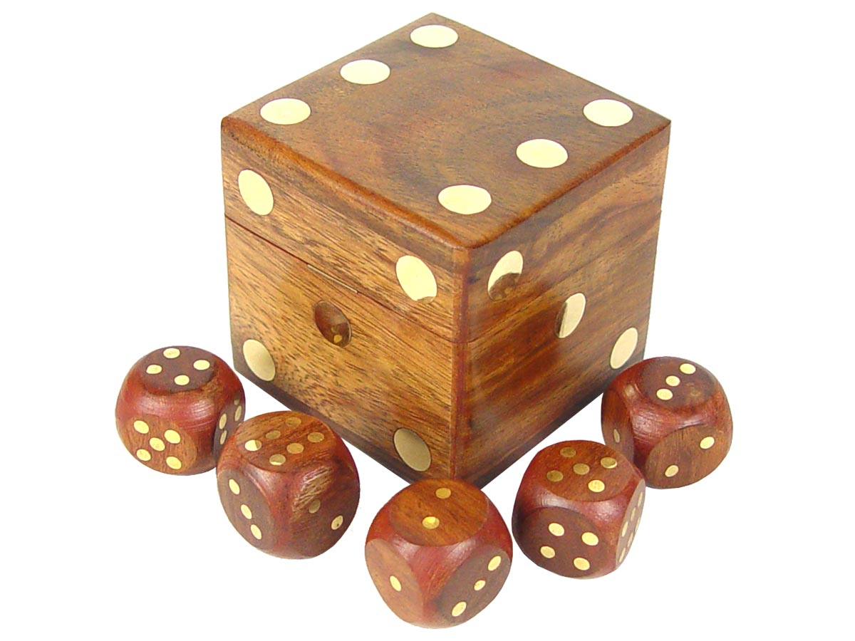 "Set of 5 Brass Inlaid Dice and 4"" Dice Box in Golden Rosewood"