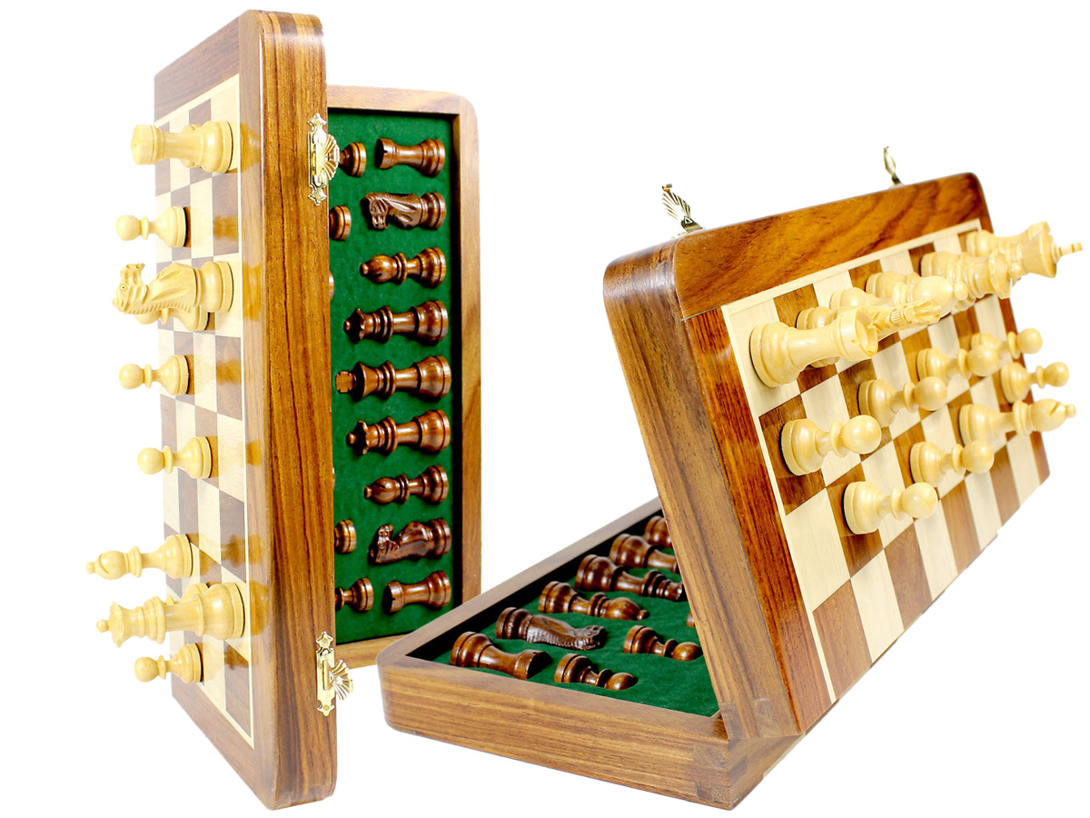 "Magnetic Folding Chess Set Golden Rosewood 14""+ Extra 2 Queens - 34pcs"