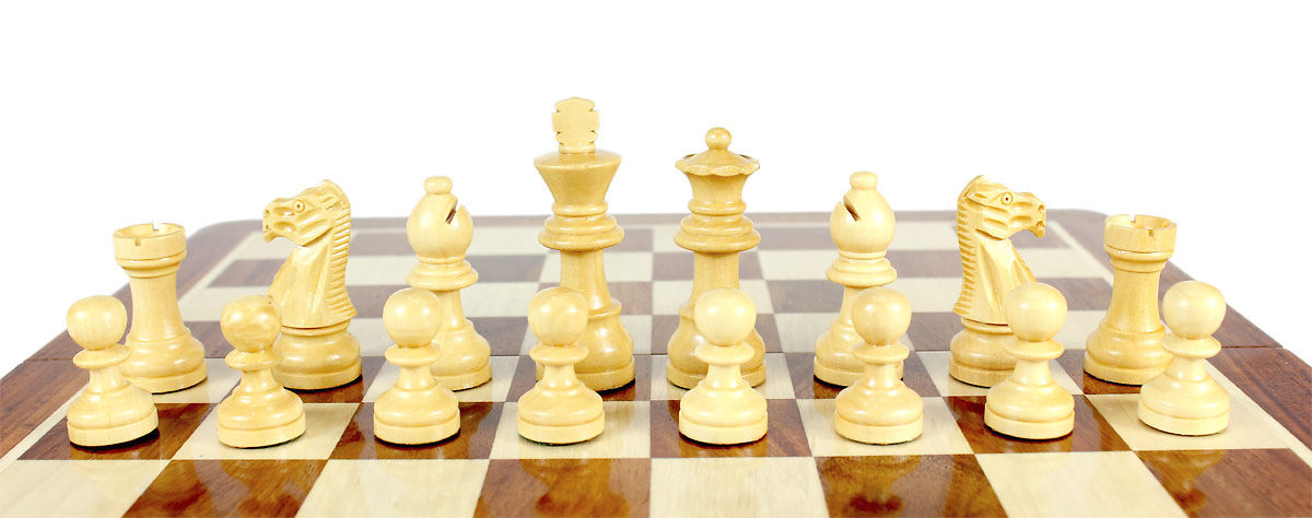 Boxwood Chess Pieces on the Chess board