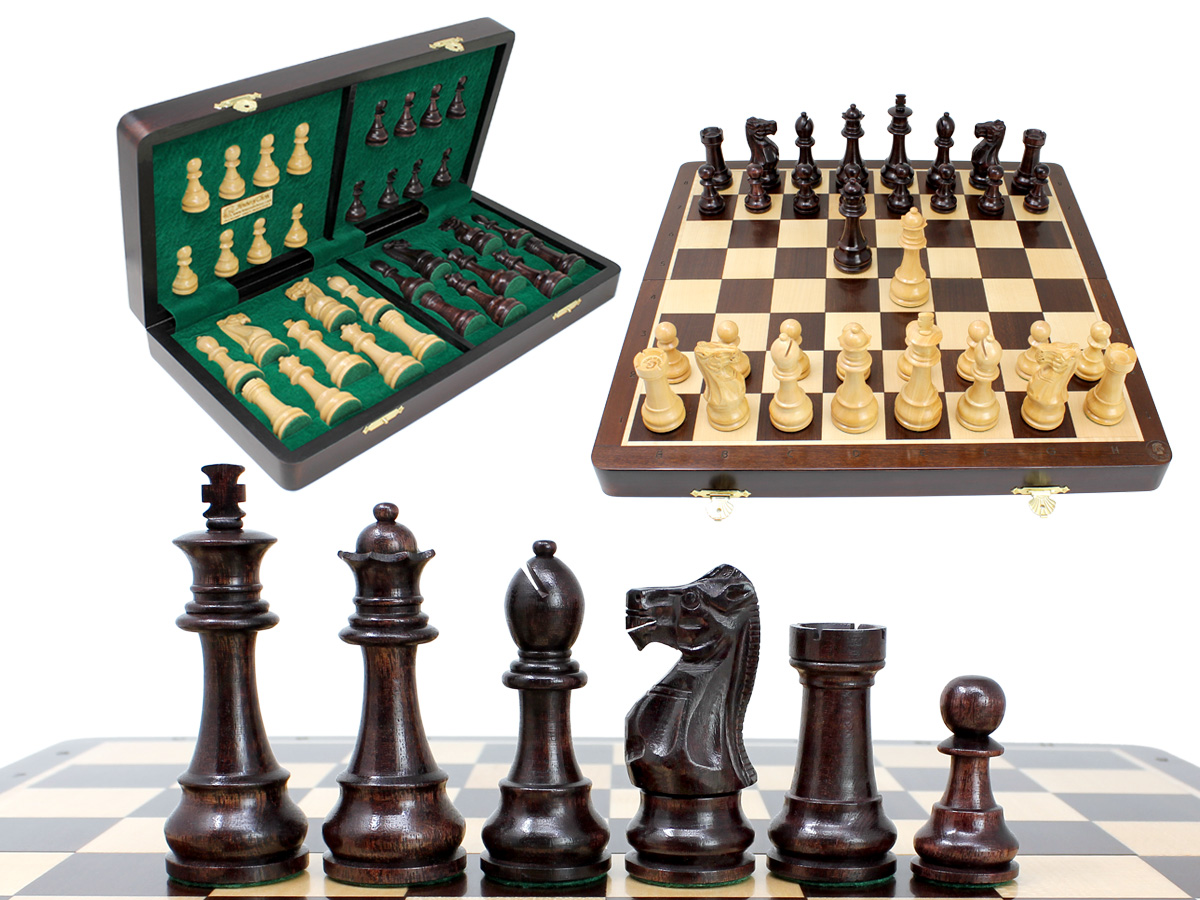 "Unique Staunton Ringy Rosewood 3.75"" Chess Set - 16"" Folding Chess Board with Engraved Algebraic Notation - 2 Extra Queens"
