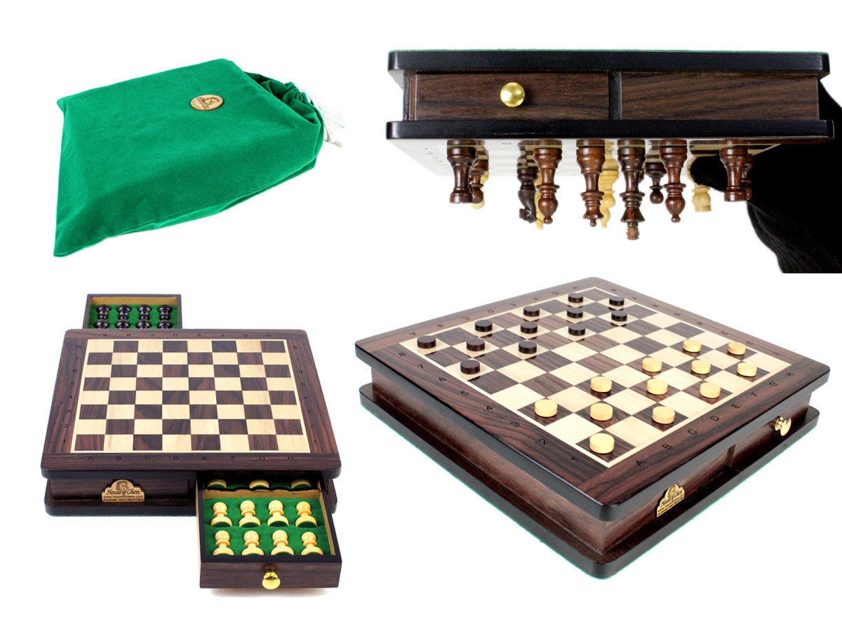 Travel Magnetic Chess Set with Algebraic Notation - 2 Extra Queens & Checkers Set 9 inch in Rosewood/Maple