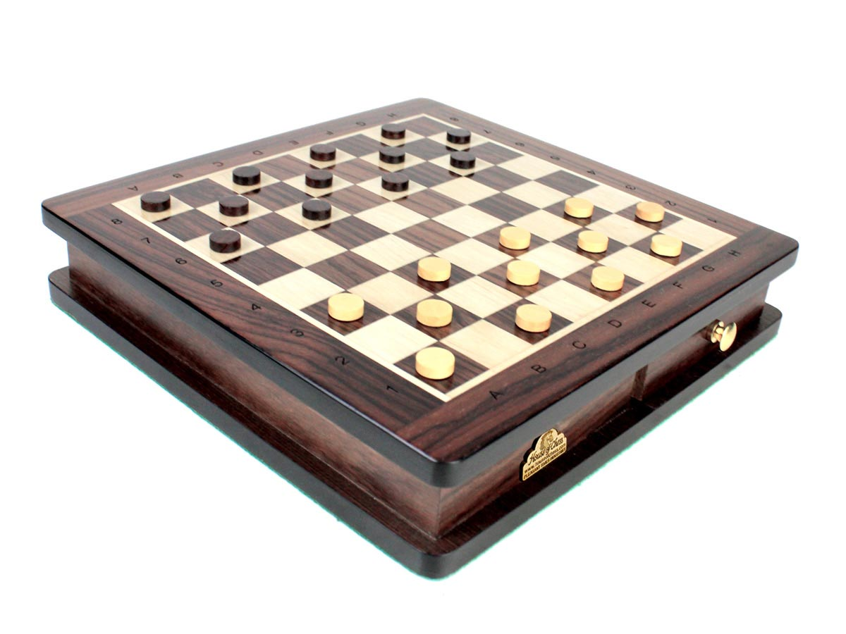 "Magnetic Checkers 12 Pieces in Boxwood and 12 Pieces in Rosewood - Diameter 0.47"" (12 mm)"