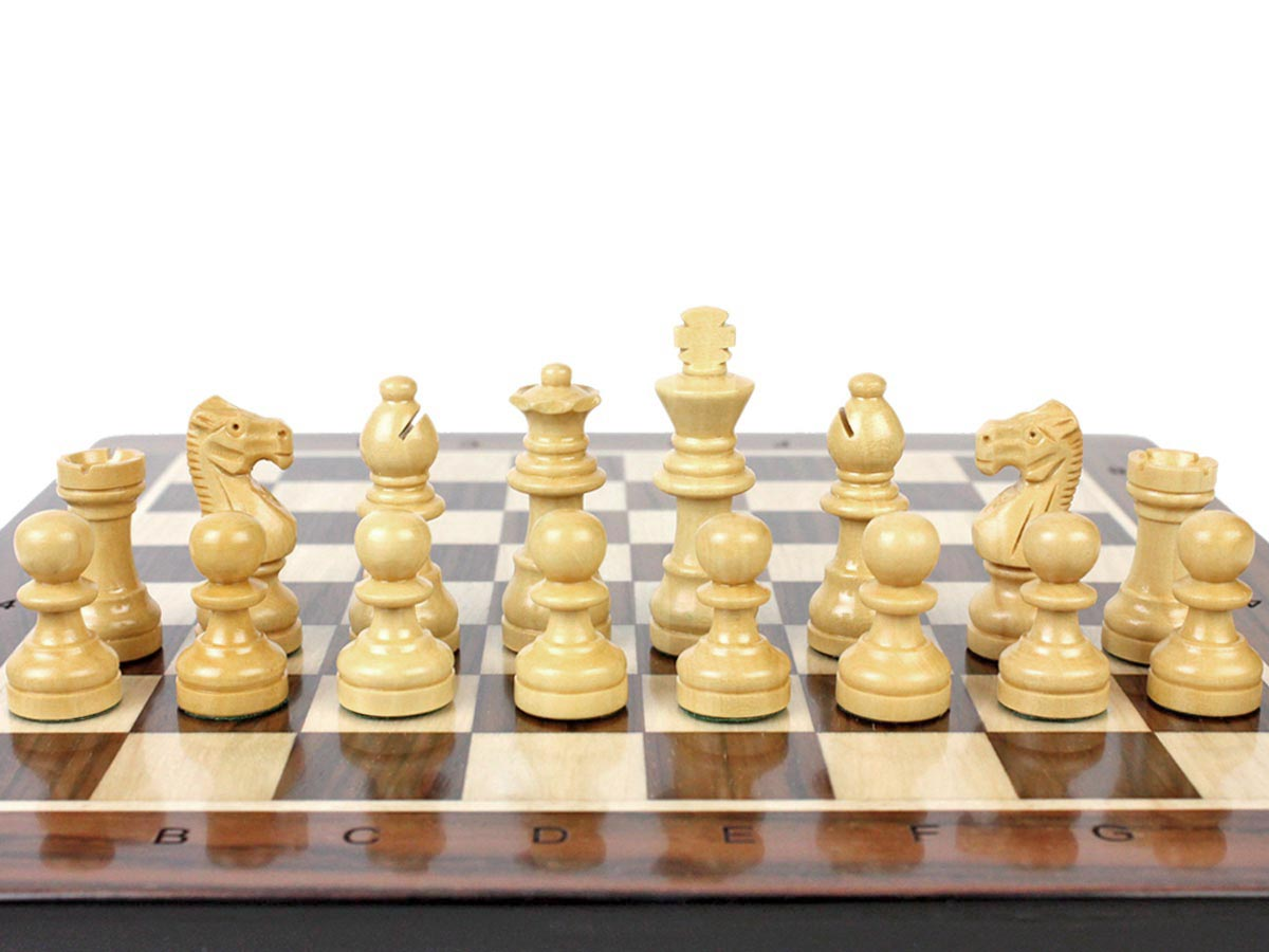 French Staunton Boxwood Chess Pieces on Chess Board