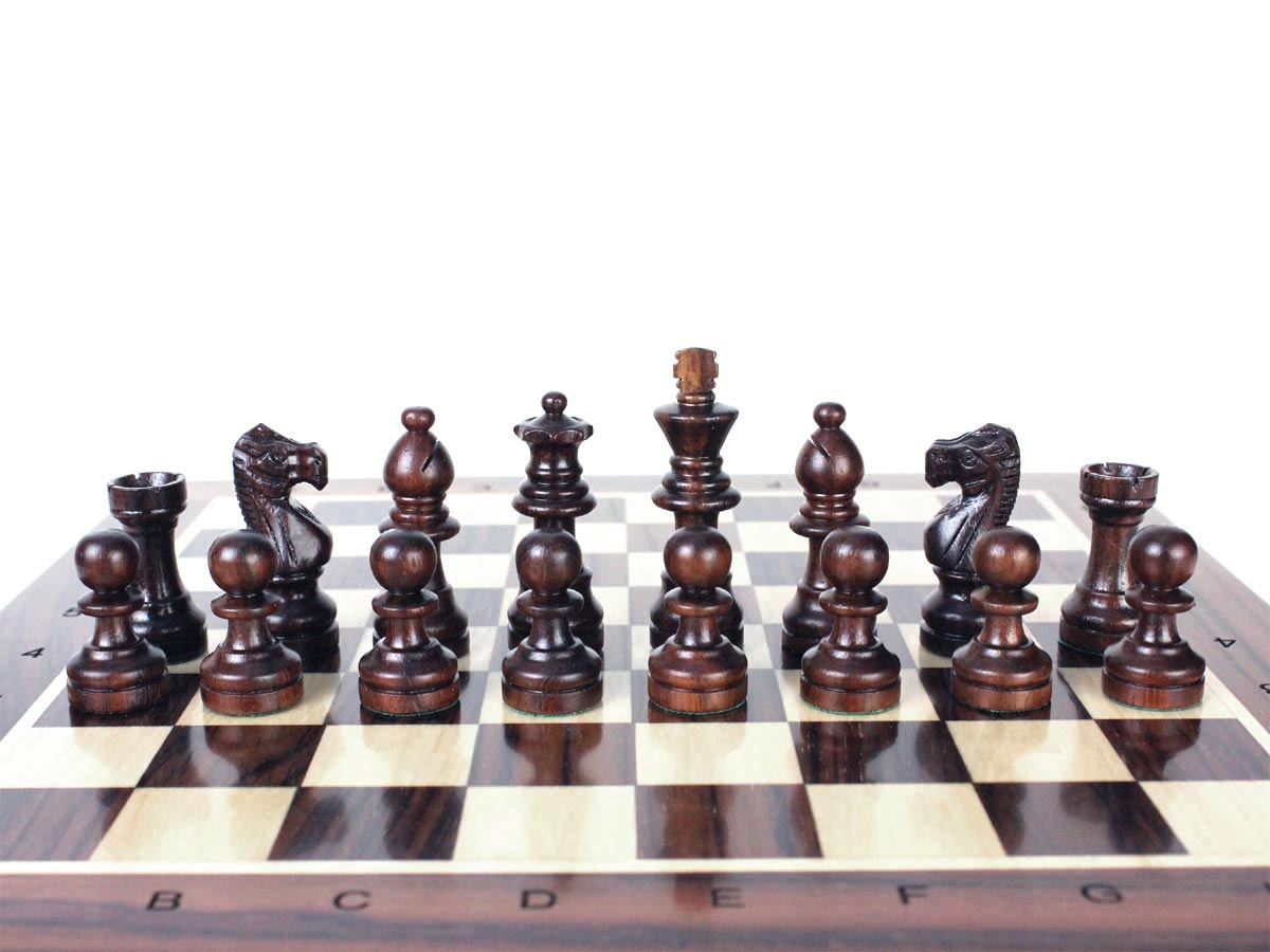 French Staunton Rosewood Chess Pieces on Rosewood Chess Board