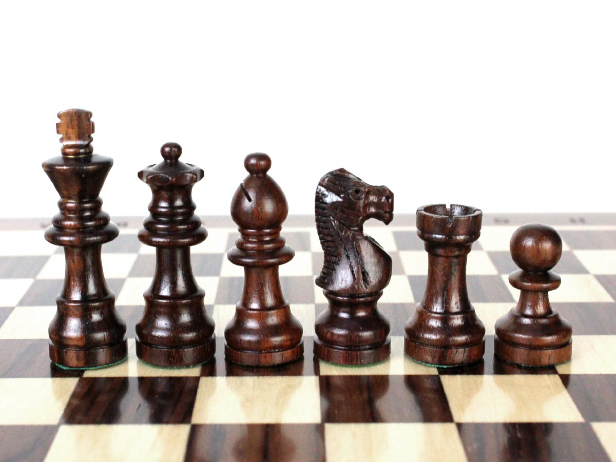 Rosewood Chess Pieces in French Staunton Design