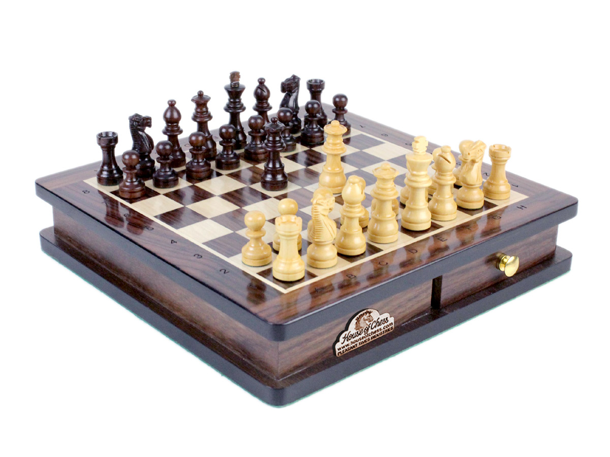 Rosewood Magnetic Chess Set with Draught Set, Two Extra Queens & Algebraic Notation