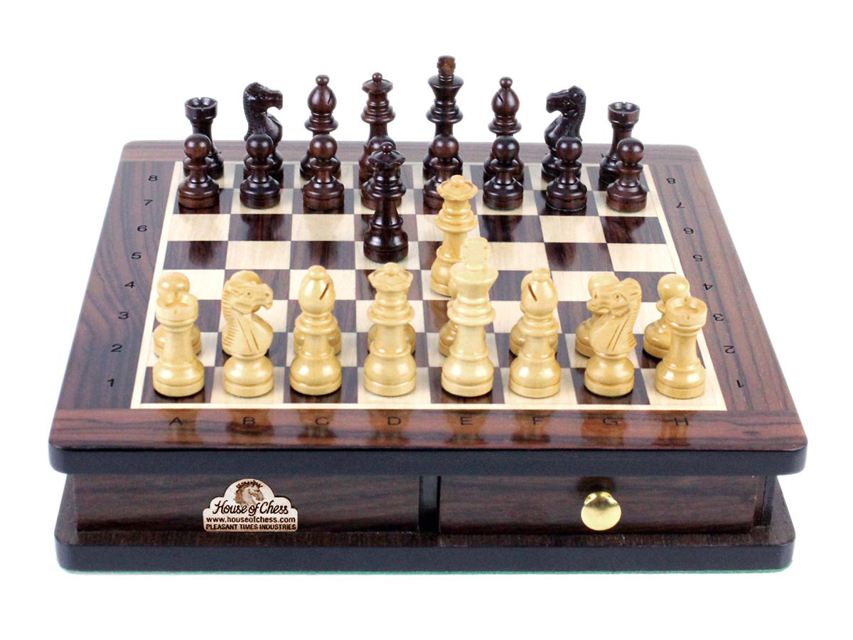 "French Staunton Magnetic 2"" (50 mm) Chess Pieces displayed on Rosewood Board and Box 9"" x 9"" (23 x 23 cm)"