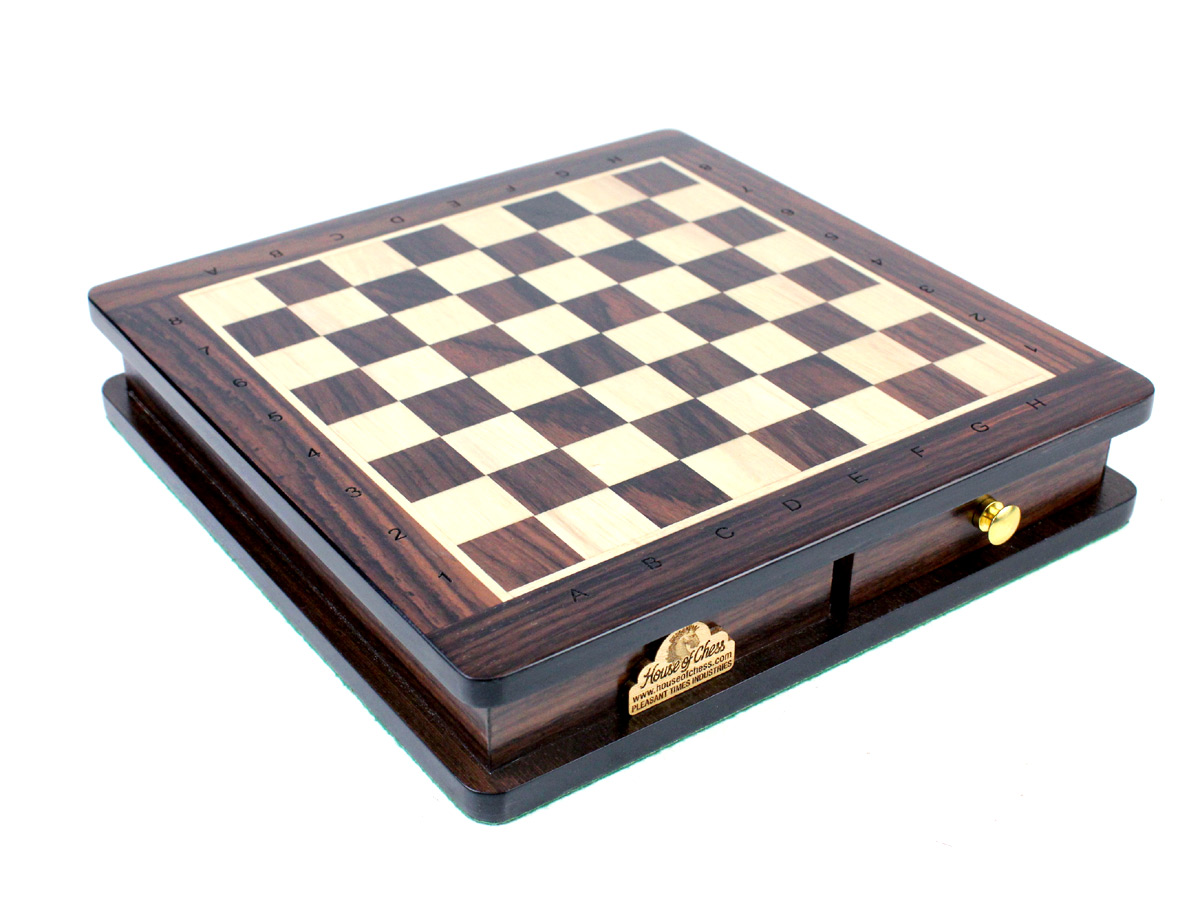 "Rosewood Chess Board and Box with Standard Algebraic Notation Square Size 0.90"" (23 mm)"