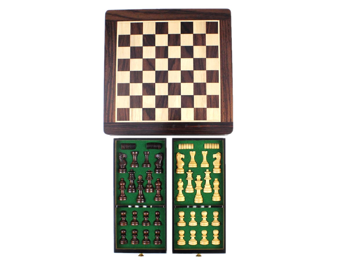 "View of Chess Board in Rosewood 9"" x 9"" ( 23 cm x 23 cm) and two drawers storing Chess Pieces and draughts set"