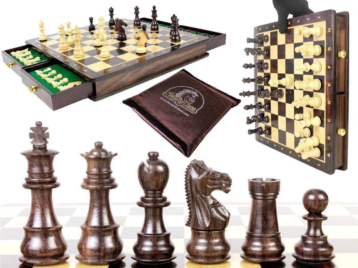 "Magnetic Galaxy Rosewood 3"" Chess Set + 15"" Chess Board with Algebraic Notation + Extra 2 Queens, 4 Derby Knights and 2 Pawns"