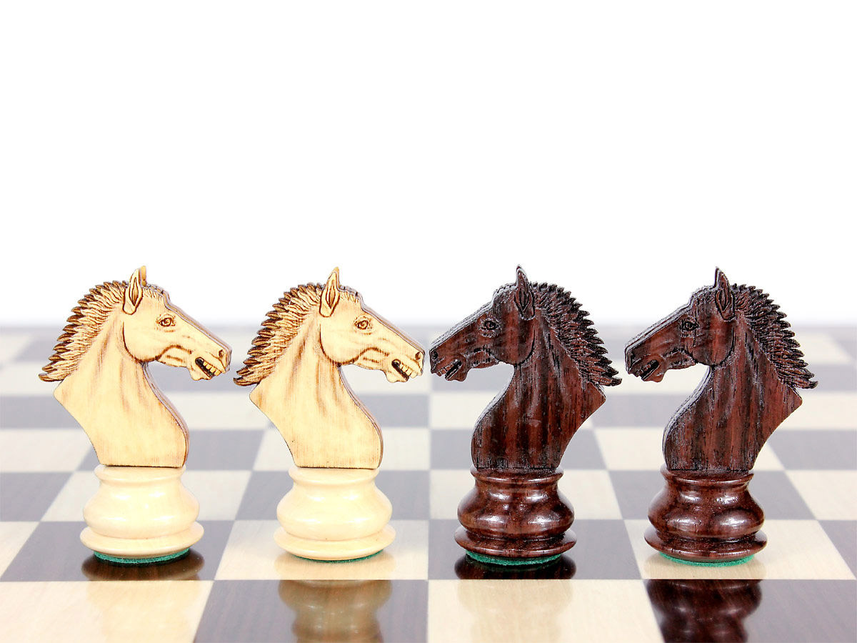 Free extra set of 4 Derby Knights in Rosewood & Boxwood with the purchase of this chess set