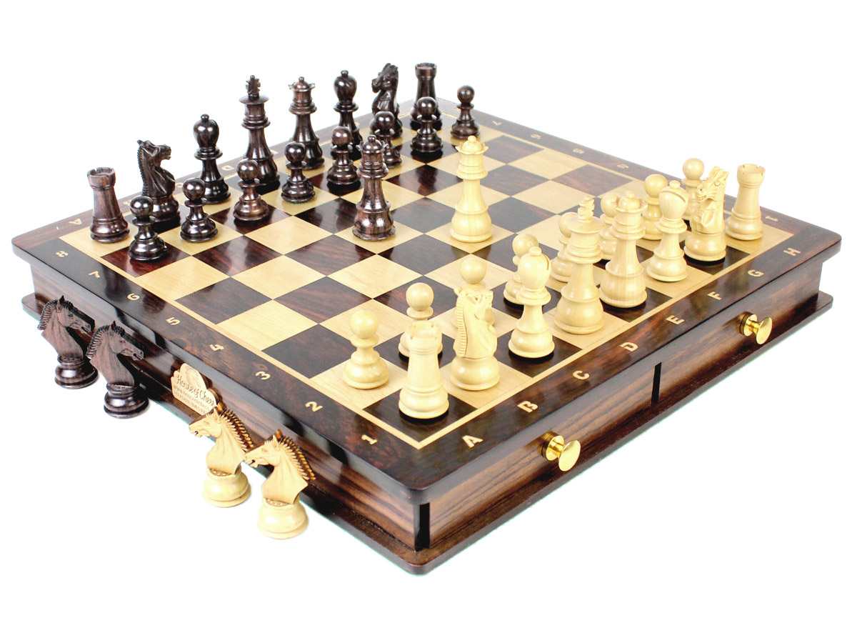 Magnetic Galaxy Staunton Chess Set in Rosewood with extra 2 Queens, 4 Derby Knights and 2 Pawns