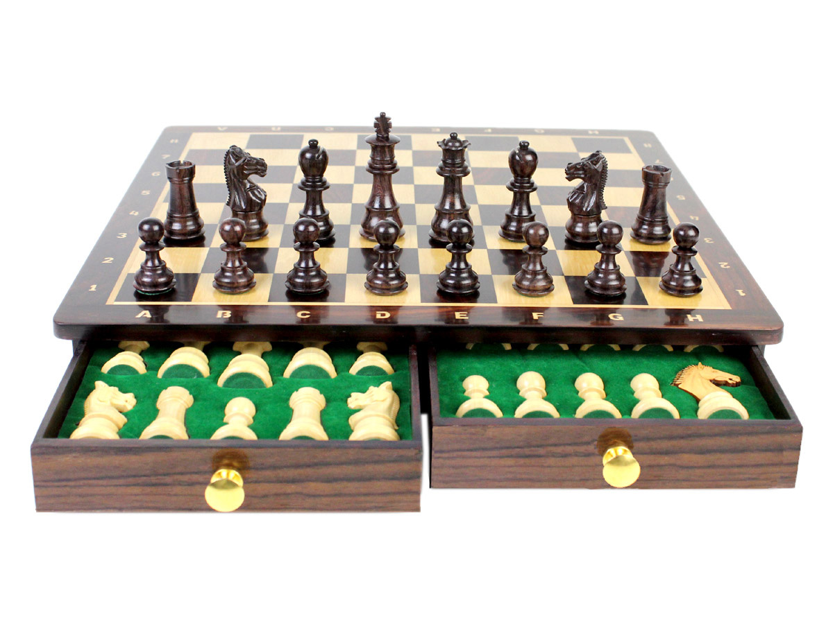 "15"" x 15"" Rosewood Chess board with inlaid Algebraic notations. Square size - 1.65"" (42mm)"