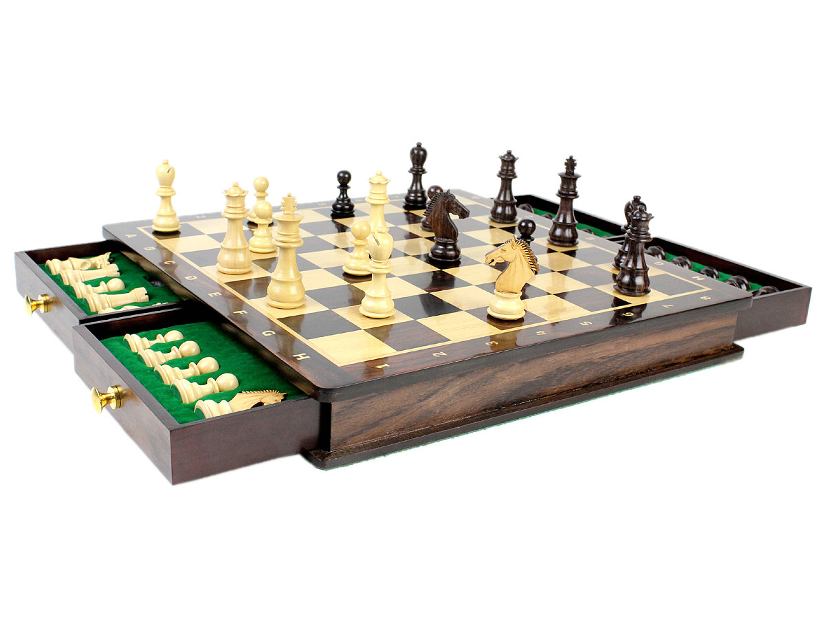 "Beautiful Chess Board with matching 3"" Rosewood / Boxwood Galaxy Staunton Magnetic Chess Pieces"