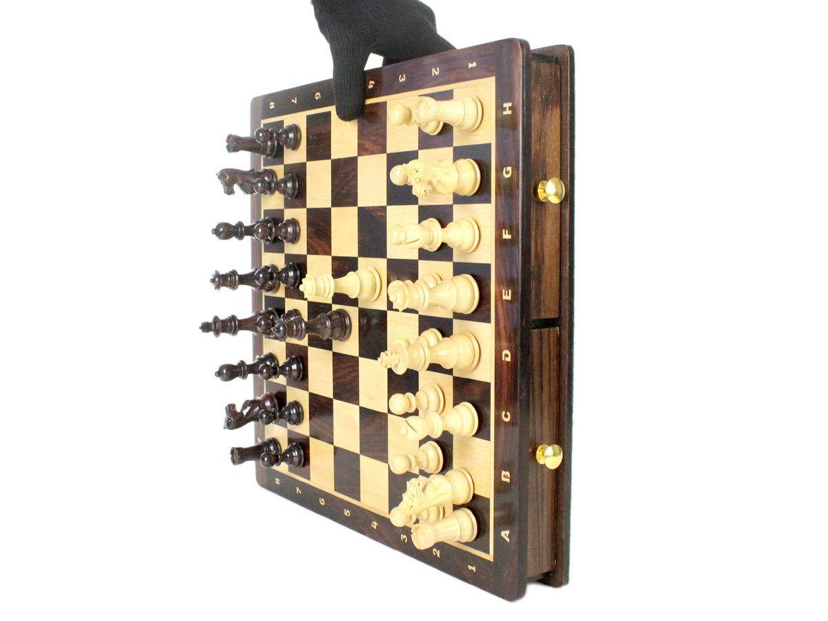 Strong magnets do not let the chess pieces fall down even if the board is kept in vertical position