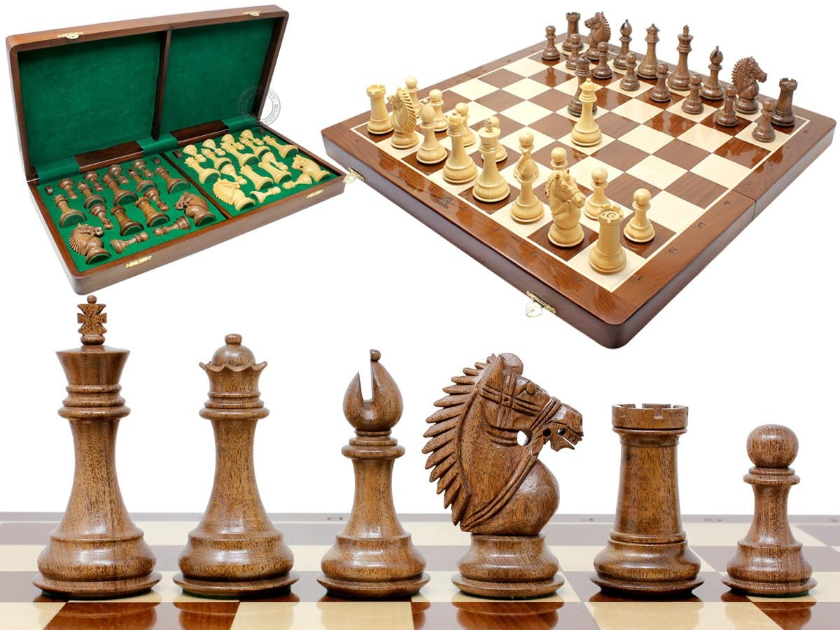 "Rio Staunton Biggie Knight Acacia Wood 4""  Chess Set - 21""  Folding Chess Board with Algebraic Notation - 2 Extra Queens"
