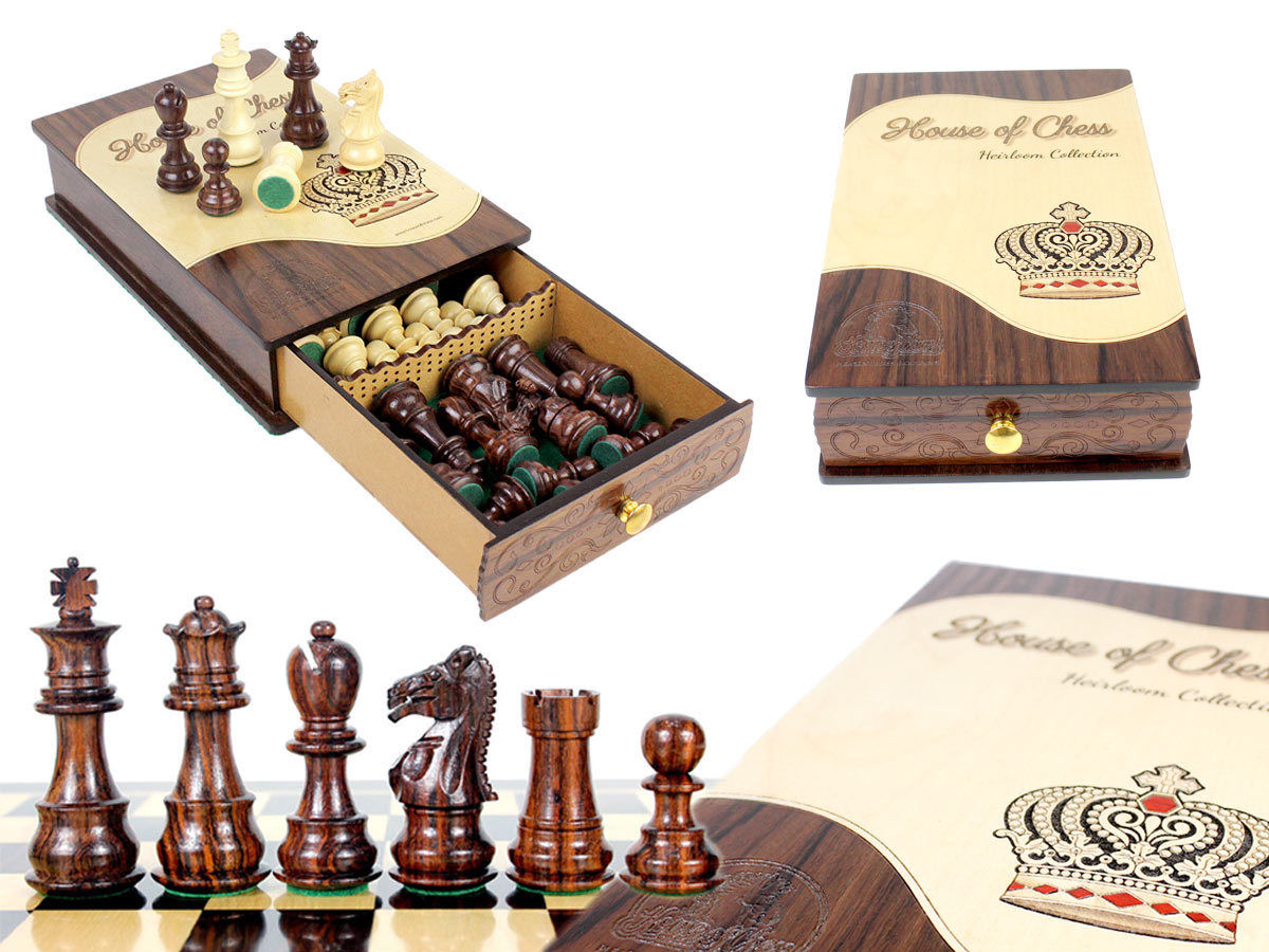 "Heirloom Collection Galaxy Staunton Rosewood Chess Pieces King Size 3"" packed in Rosewood  Heirloom Box"