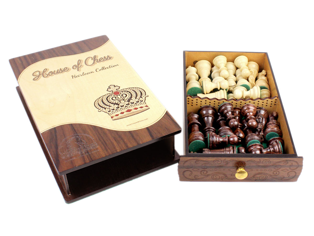 """Galaxy Staunton Heirloom Collection 3"""" Chess Pieces stored in Rosewood Maple Box with Pull Out Drawer"""