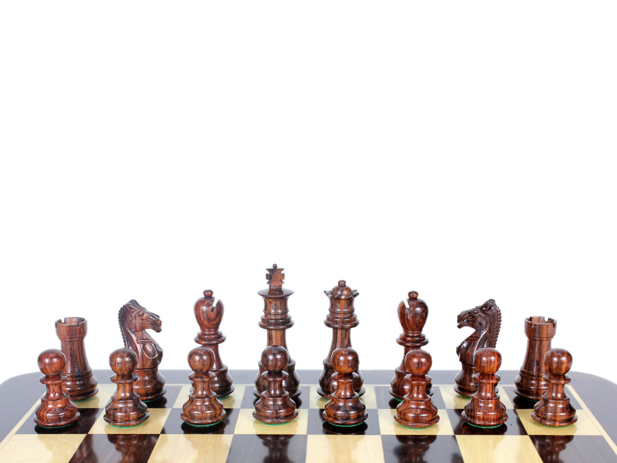 """Galaxy Staunton Rosewood Triple Weighted Chess Pieces King Height 3"""" (76 mm)"""