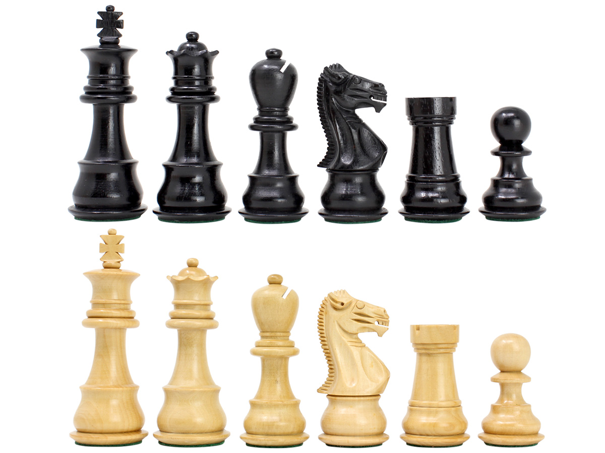 "Ebonized / Boxwood Galaxy Staunton Wooden Chess Set Pieces King Height 3.5"" - Triple Weighted"