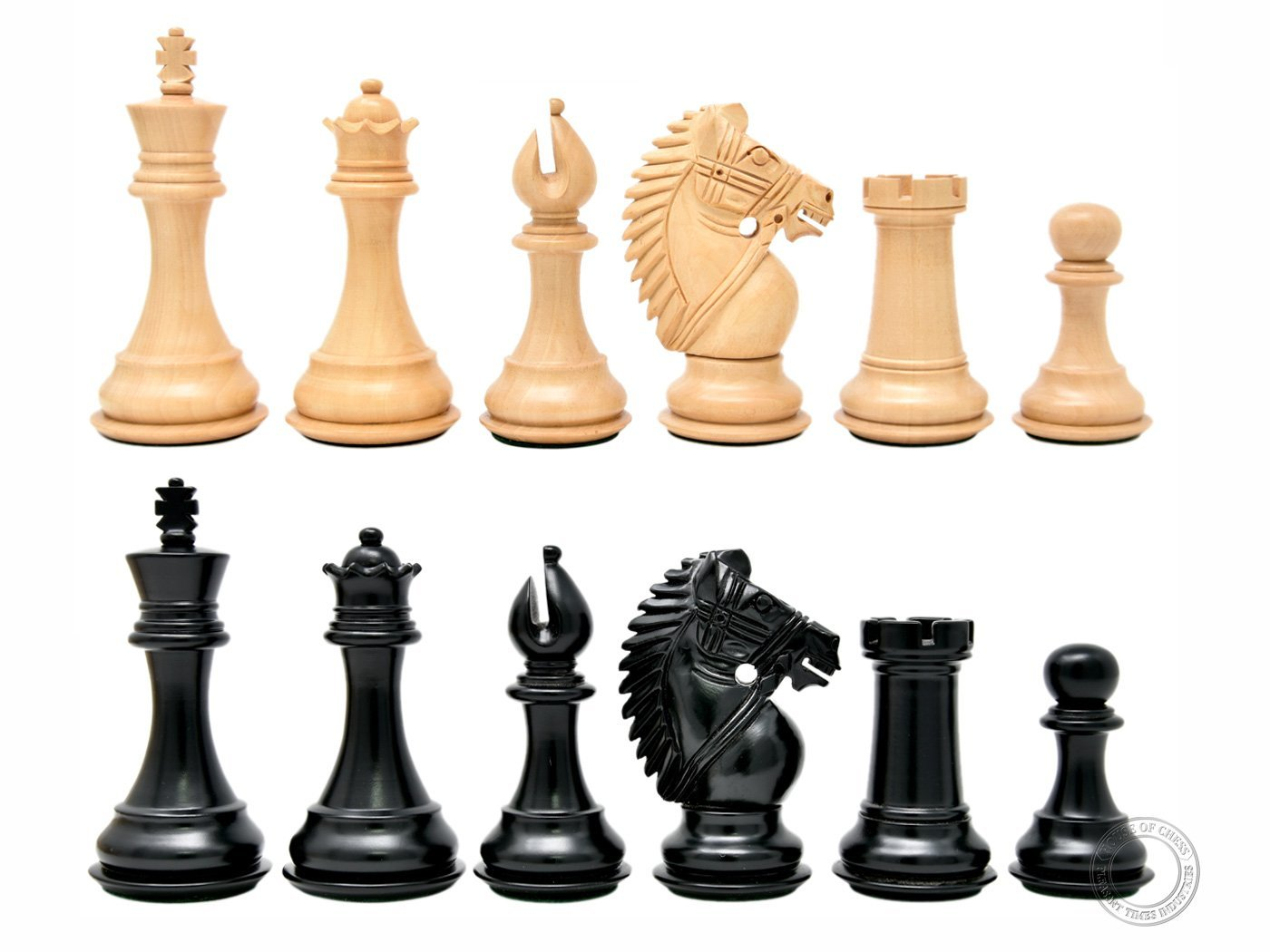 "Ebonized / Boxwood Chess Set Pieces Rio Staunton 4"" (102 mm) - 2 Extra Queens - Triple Weighted"