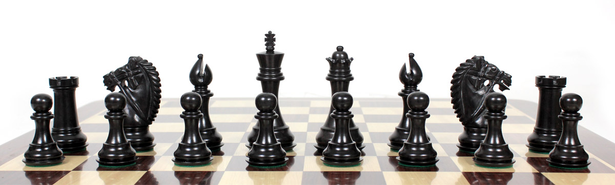 All chess pieces are triple weighted. Total weight of the chess pieces is 3.256 lbs (1477 grams)