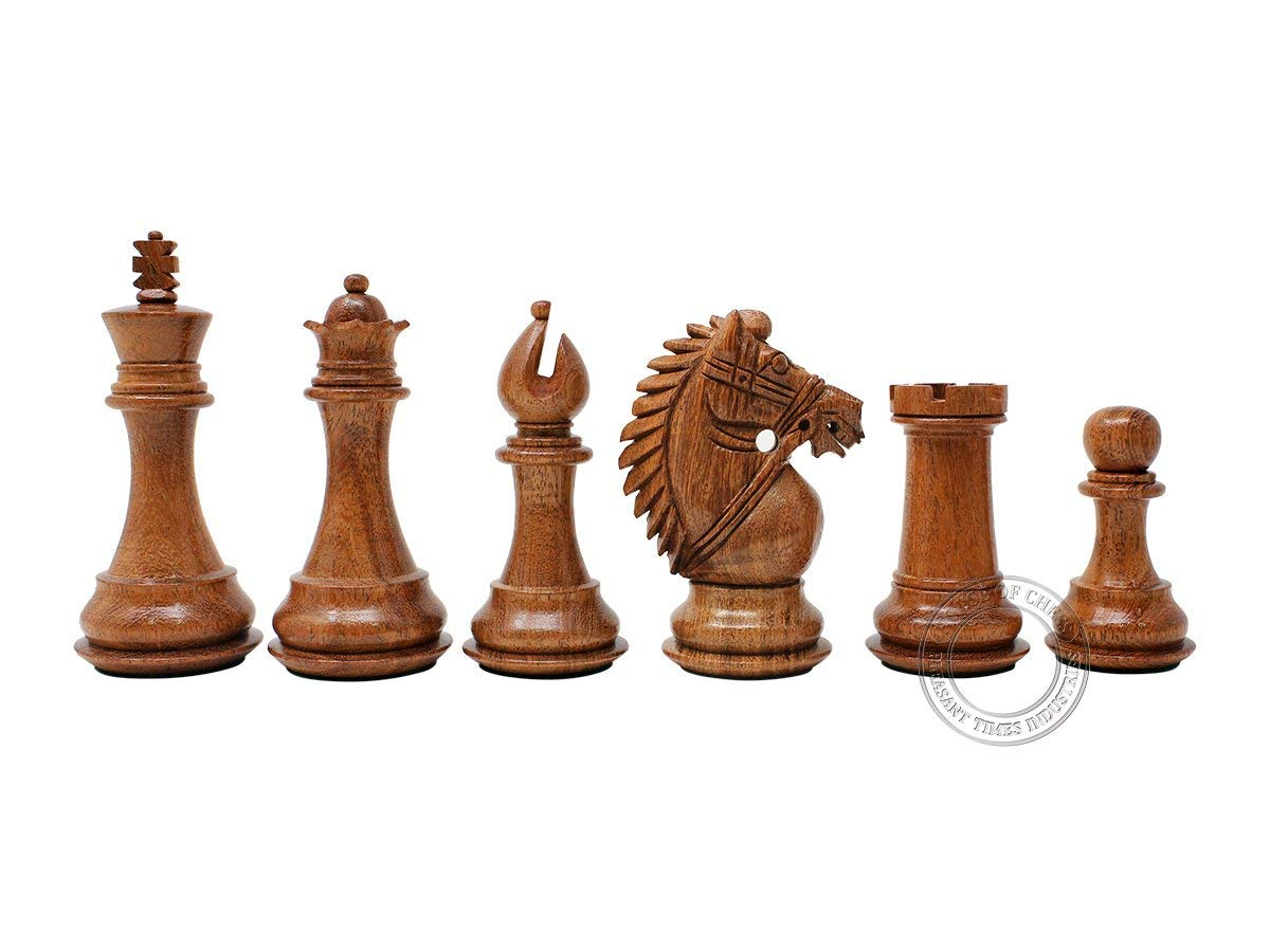 "Ringy Rosewood (Acacia Rhodoxylon) / Boxwood Chess Pieces Rio Staunton - King Height 3.75"" (95 mm) - 2 Extra Queens - Triple Weighted"