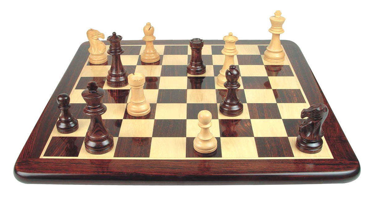 """Wooden Flat Chess Board Rosewood/Maple 21"""""""