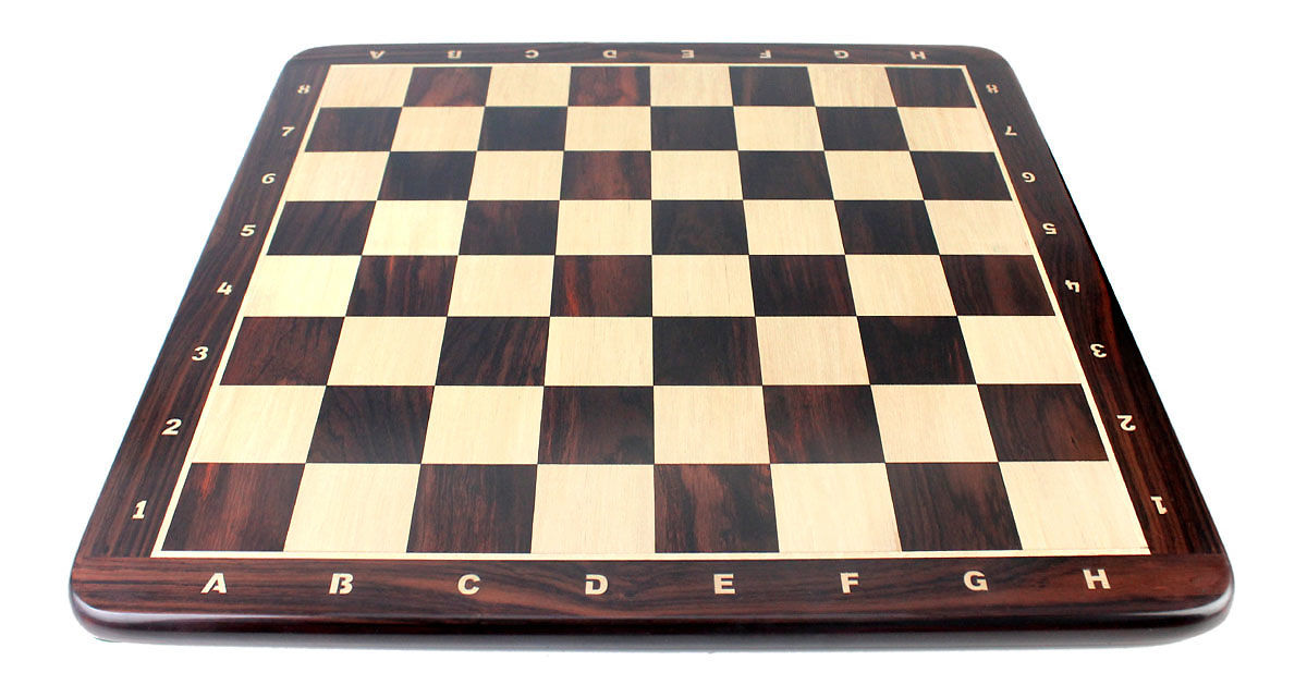 "24"" Falcon Wooden Chess Board Rosewood - Inlaid Notation - Square Size 2.5"" (63.5 mm)"