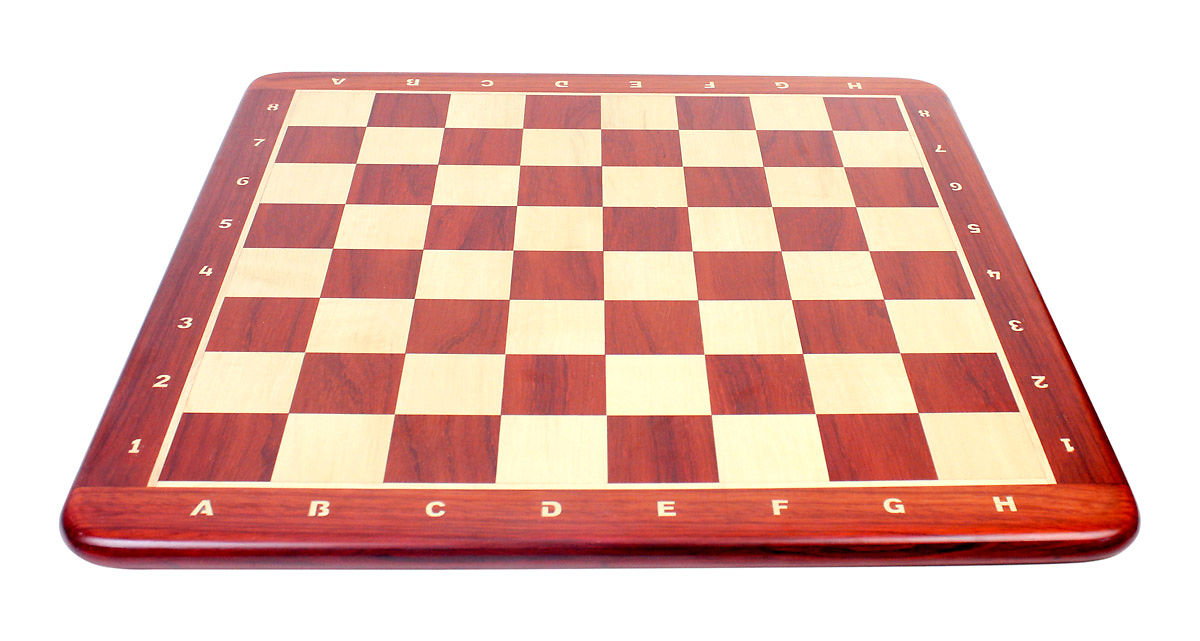 "Wooden Chess Board Bud Rosewood 24"" - Square Size - 2.50"" (63.5 mm) -  Inlaid Algebraic Notation"