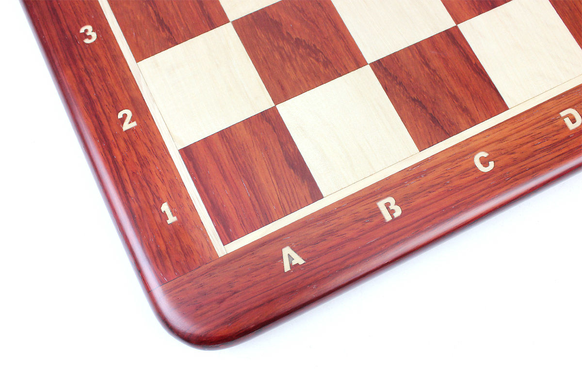 All the 4 sides and corners of this Bud Rosewood Chess Boards have rounded edges