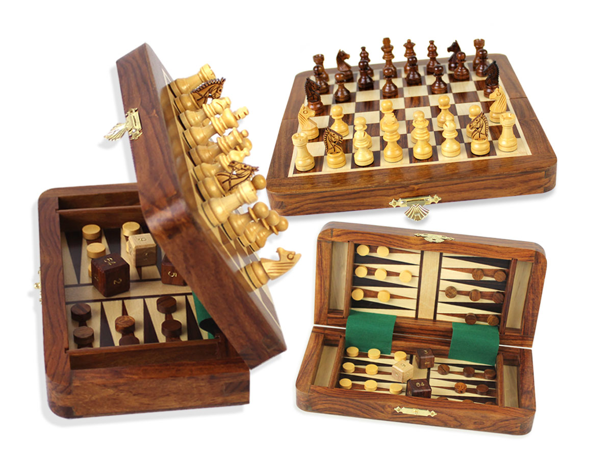 "Wood Magnetic Travel Chess Set & Backgammon Combo Folding 7-1/2"" Golden Rosewood/Maple"